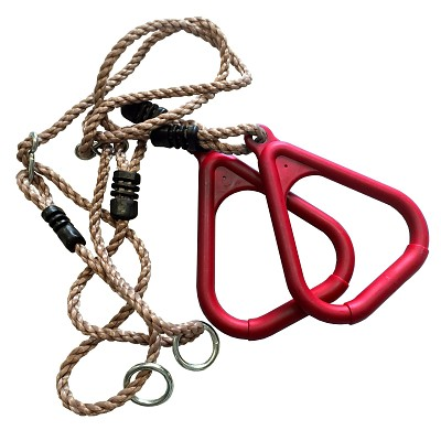 Triangular gymnastic rings with rope, red