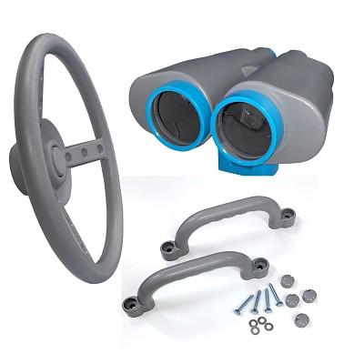 Climbing frame set steering wheel, binoculars and handles gray