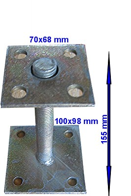 Adjustable Support Post With Galvanized Plate