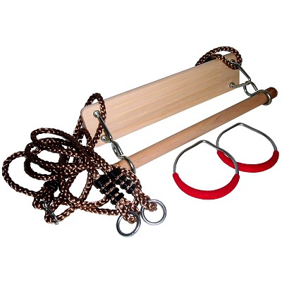 Gymnastics equipment set, swing seat, gymnastic rings and wooden trapeze