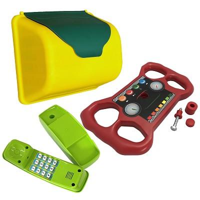 Climbing frame accessory set mailbox, telephone, steering wheel
