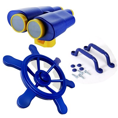 Climbing frame set steering wheel, binoculars and handles multicolor
