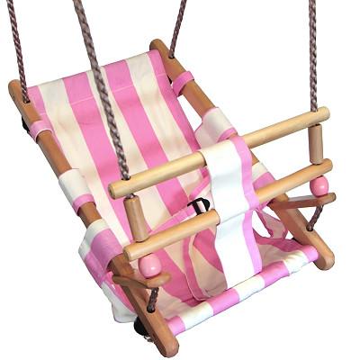 Baby swing seat - pink / white