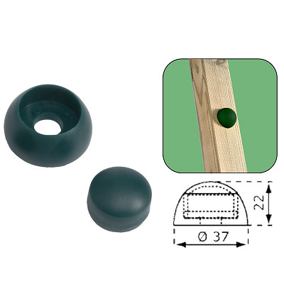 Set of 10 cover caps 8-10mm green