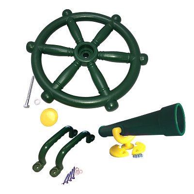Climbing frame set steering wheel, telescope and handles green