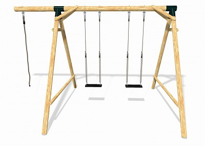 Playground Set BOUNCE - Double Swing with Climbing Rope