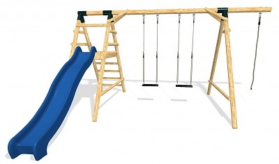 Playground Set - 2 Swings with Climbing Rope and Slide HAPPY